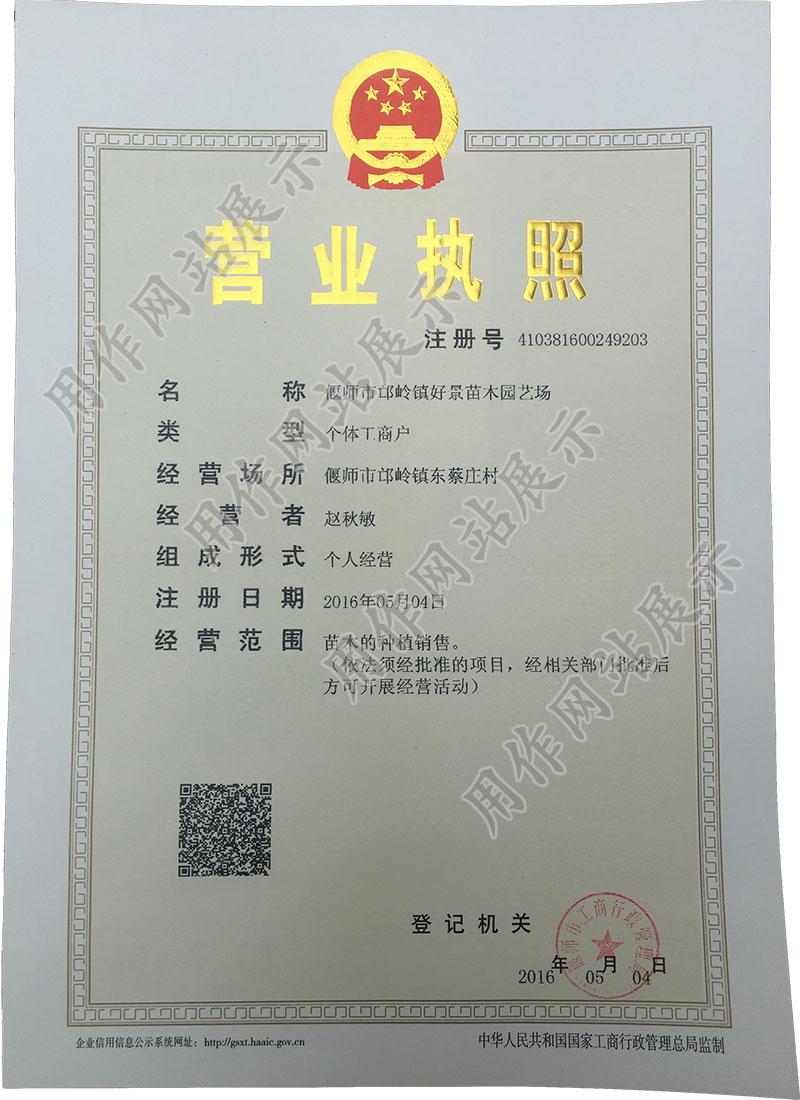 偃师市邙岭镇凯时平台苗木园艺场营业执照